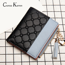 New ladies short wallet female zipper fashion fresh Korean version of the large capacity tassel love stitching handbags