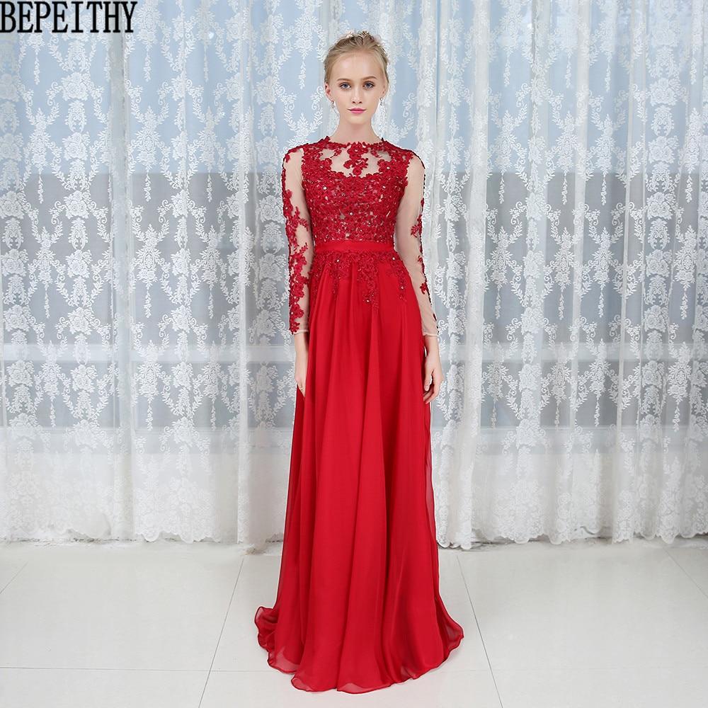 BEPEITHY Vestido De Festa Vestidos Longo Long Red Evening Dress Formal Dresses Beading Custom Made Prom Dress 2017 New