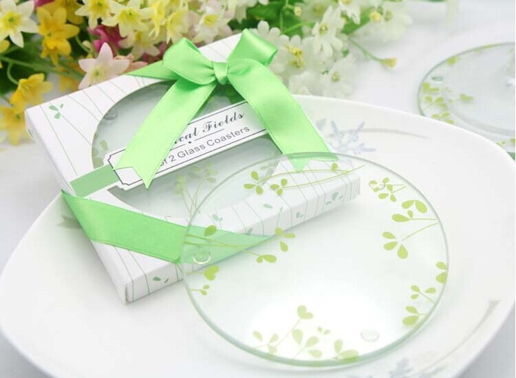 100sets new wedding favor green clover glass coaster baby shower favor christmas birthday gifts guest souvenirs