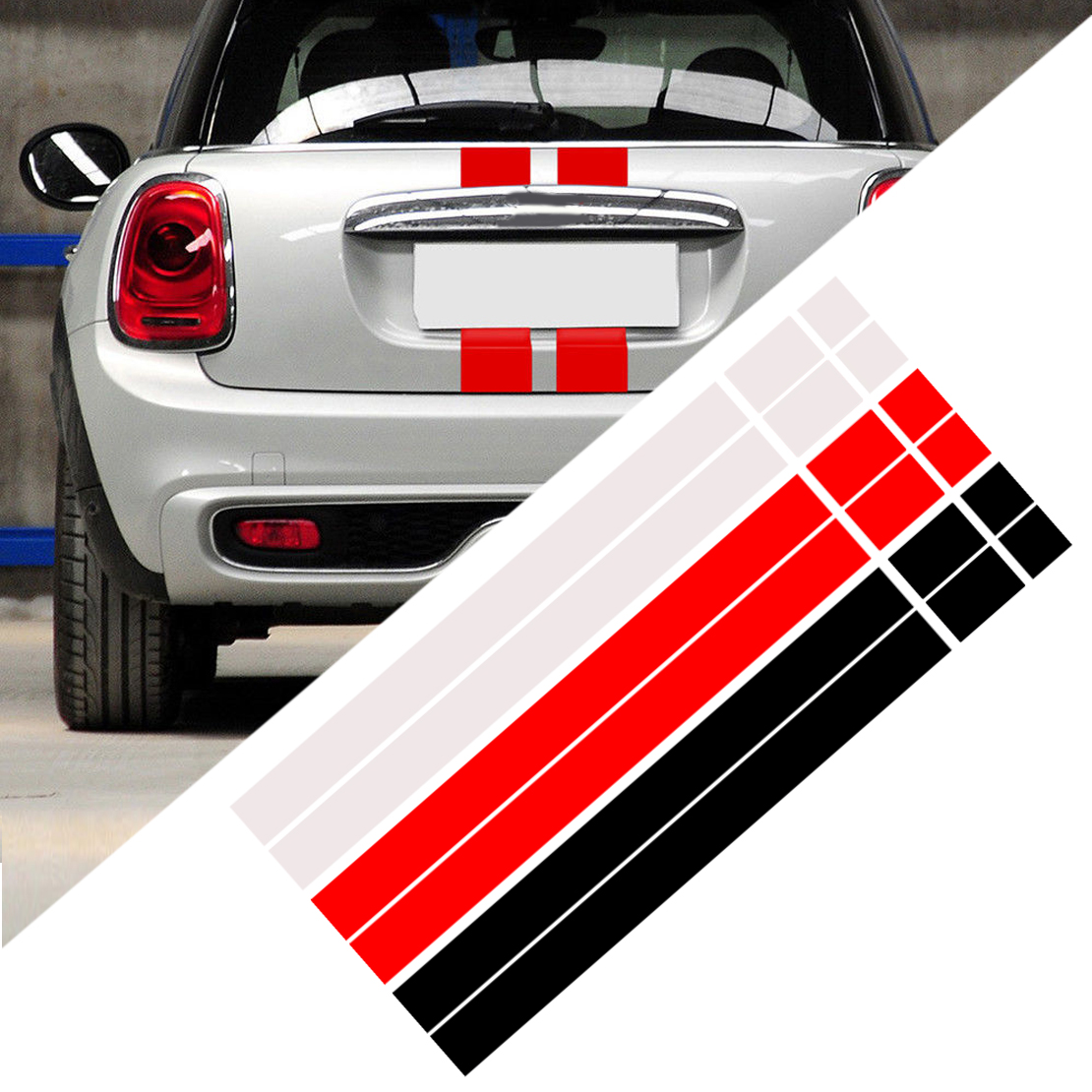 CITALL 2Pcs Car Bonnet Stripes Hood Sticker Cover Vinyl Decal Fit For MINI Cooper R50 R53 R56 R55 DWm2754536 Black/White/Red