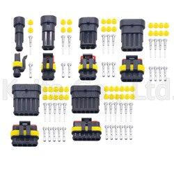 Kit de 5 Juegos de conectores impermeables para lámpara de xenón para coche, 1P, 2P, 3P, 4P, 5P, 6P, AMP 1,5, macho y hembra, conectores Automotrices