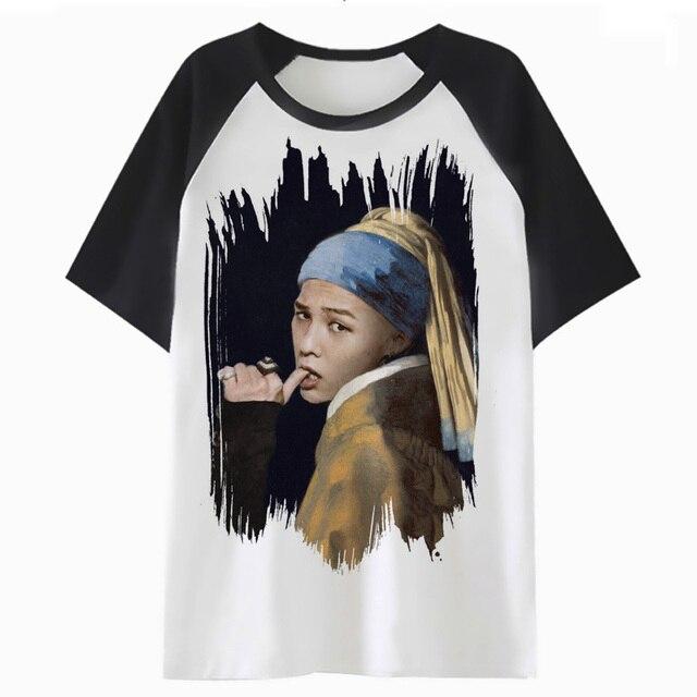 G Dragón Bigbang Camiseta Femenina Tops Camiseta Kawaii Dibujos