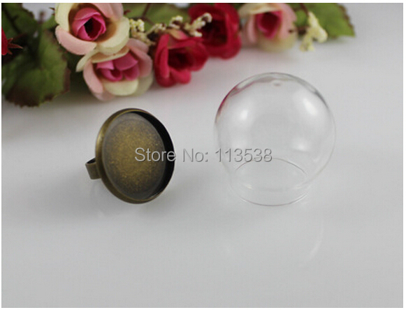 Free Ship! 50sets/lot 30*20mm glass globe with antique bronze ring setting findings set glass bubble DIY vial pendant