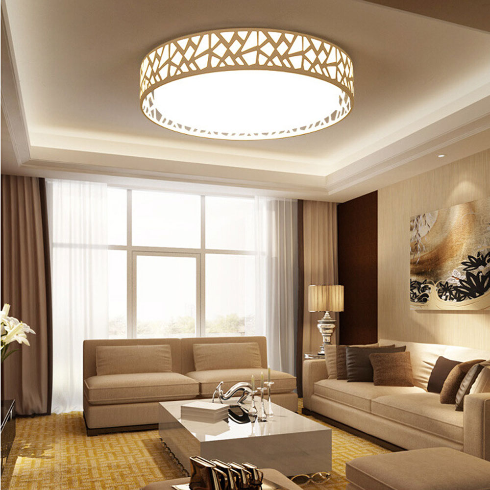 LED Modern Ceiling Light Creative Round White Living Room Lamp 110v 220v  Bedroom Lighting Stylish Apartments Ceiling Lamps In Ceiling Lights From  Lights ... Part 44