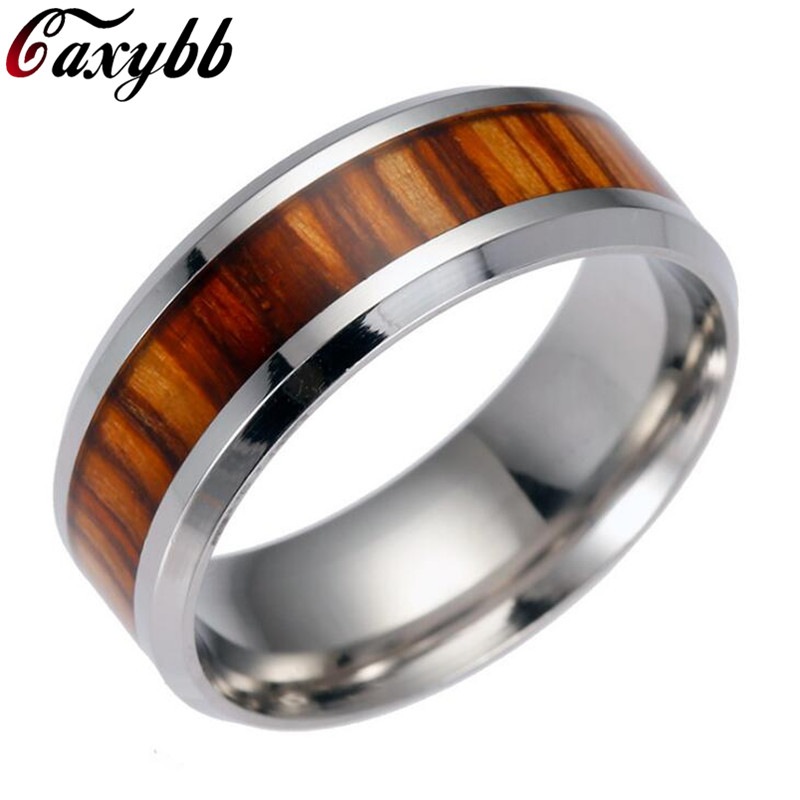 Men Rings Delicate Wood Inlay Titanium Steel Silver Ring