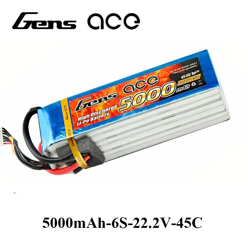 Gens ace Lipo Battery 22.2V 5000mAh Lipo 6S Battery Pack 45C for Bigger Sport Aerobatic 3D Helicopter RC Accessories EDF Planes gens ace lipo battery 3s 5200mah lipo 11 1v battery pack 3 5mm banana connector 10c battery fpv hobbies rc models accessories