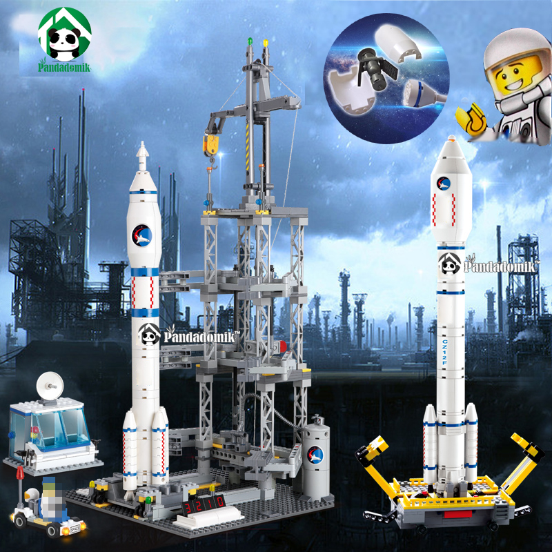 все цены на Kazi Large Rocket Launching Station 822pcs Space Building Blocks Figure Toys Kids Model Blocks compatible lepin Constructor Set онлайн