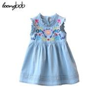 Children Bohemian Dresses Baby Girl S Sleeveless Denim Embroidery Ruffled Dress Kids Designer Jeans One Piece