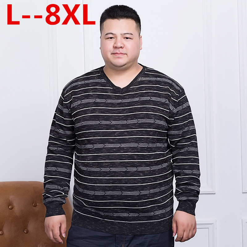 Big 10XL 8XL 6XL 5XL 4XL Sweater Men 2018 Spring New Loose Fit Striped Knitted Sweaters Male Plus Size Pullovers Brand Clothing