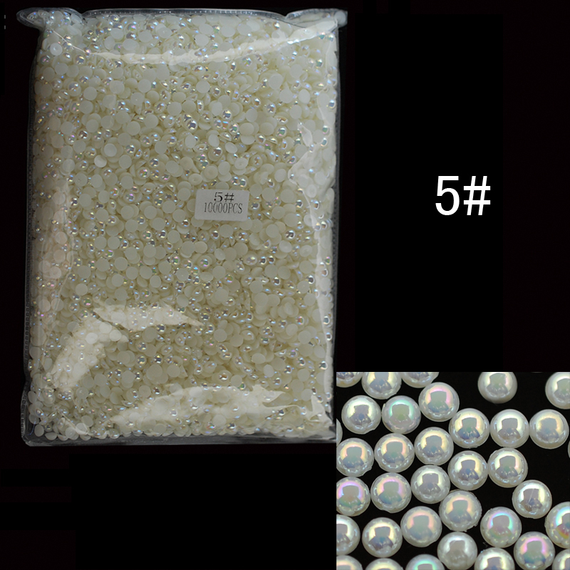ABPearl5mm 10000pcs/lot 5mm Half Round Shape Pearl Beads AB Beige Color Nail Art  Decor Ladies Nail Art Pearls Accessories realflame 10000 ab дровник