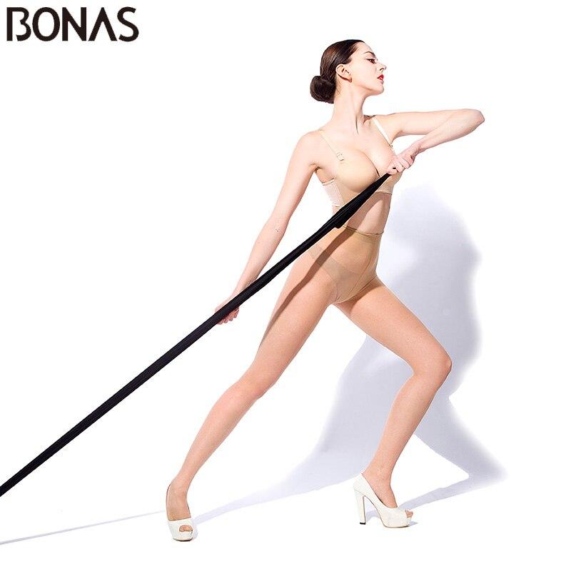 BONAS Medias transpirables atractivas Mujeres 15D Medias transparentes de verano Medias de nylon elásticas Medias femeninas de color sólido