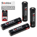 4Pcs Soshine 3.2V LiFePO4 battery AA 14500 battery pilas recargables Protected With Battery Case and connectors