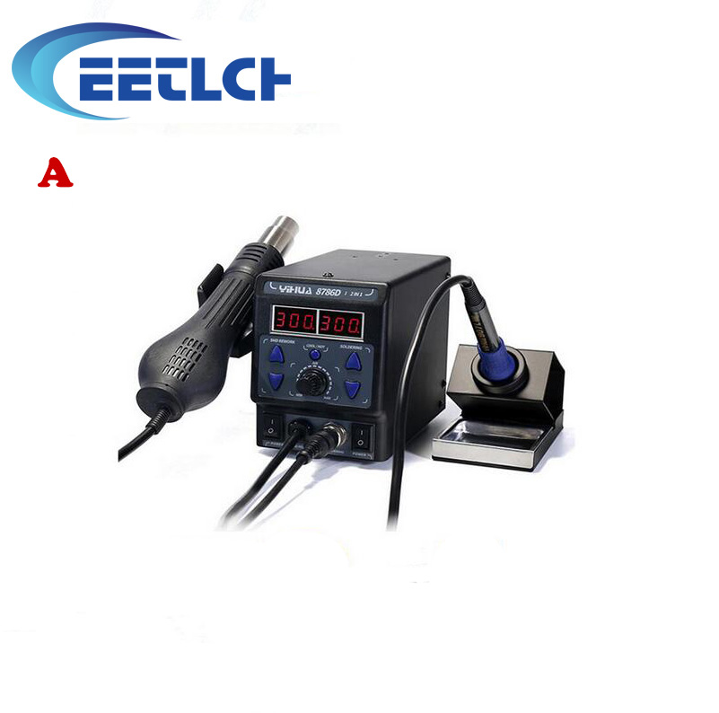 220v YIHUA 8786D 2 In 1 Upgrade SMD Rework Station Soldering Station Electric Soldering Iron+Hot Air Gun 700W For Repair