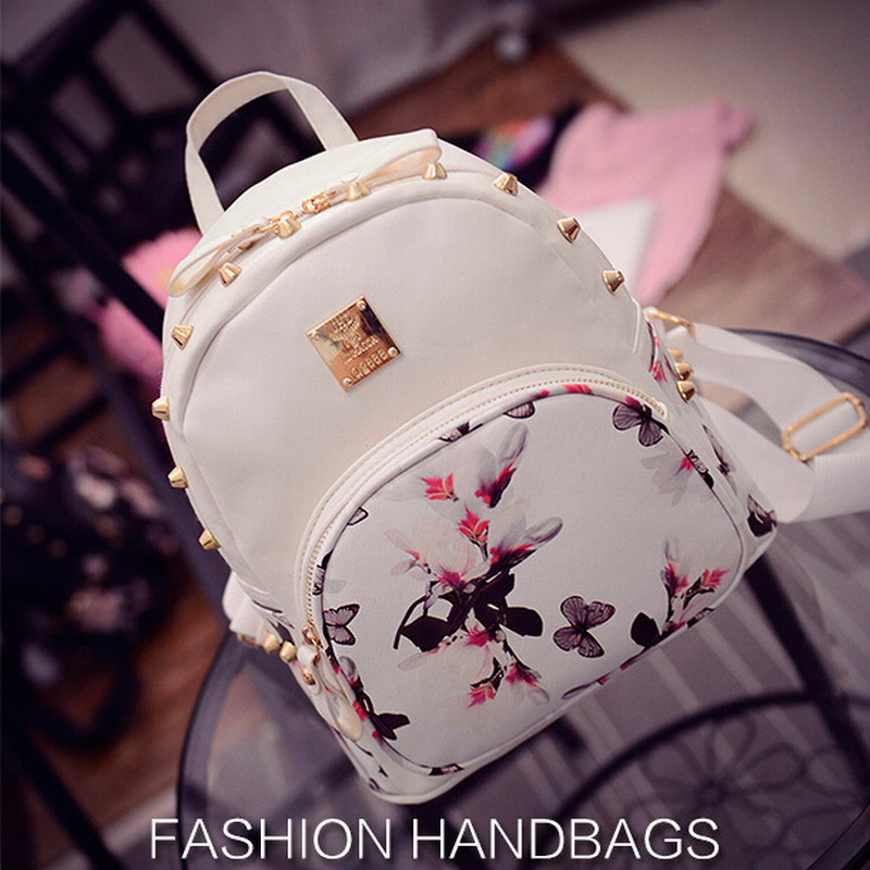 f16400a803 New Fashion Women Backpack Flower Butterfly Printing Women s Small Leather  Backpack Rivet Girl Schoolbag Ladies Travel Mini Bag
