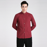 Burgundy New Chinese Men S Linen Casual Tops Spring Autumn Long Sleeve Kung Fu Martial Arts