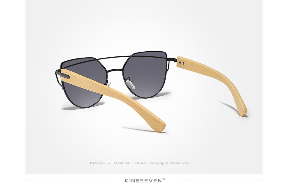 Original KINGSEVEN Brand Bamboo Cat Eye Sunglasses Polarized Metal Frame Wood Glasses Women Luxury Sun Glasses With Wood Case