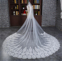 3 Meters Long Wedding Veils with Applique Lace Edge Luxury Chapel Train Long Bridal Velo Comb Vail Accessories White Ivory