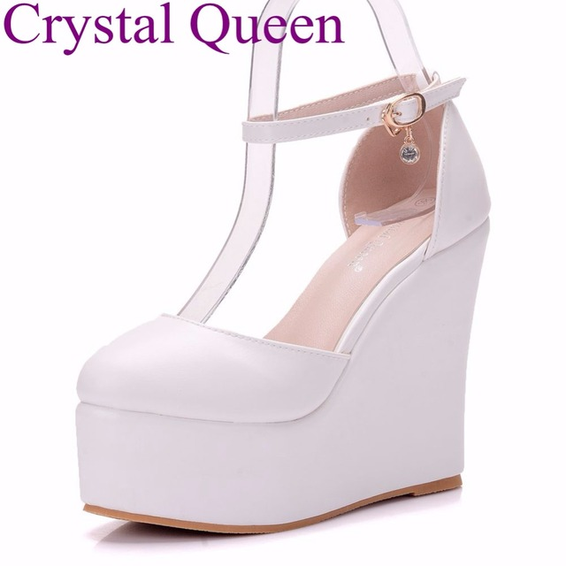 8083e32f767c Crystal Queen 13CM platform wedges pumps heels shoes round toe white wedges  shoes wedding party platform heels plus size 41