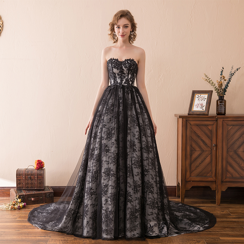 A-line   Prom     Dresses   Sweetheart A-line Elegant Black Lace Sleeveless Evening   Dresses   Sweep Train Bride Party Gown Formal   Dresses