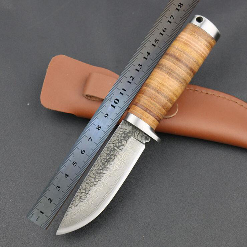 Fixed Handmade font b Knife b font Forged Damascus Pattern Steel Blade Straight Outdoor font b