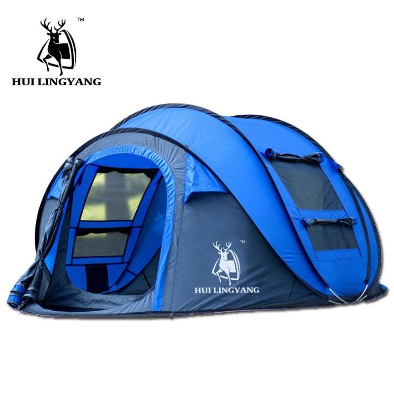 HUI LINGYANG tente extérieure automatique tentes jetant pop up étanche camping randonnée tente étanche grande famille tentes
