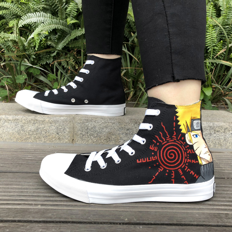 Wen Custom Design Anime Hand Painted Shoes Naruto Sabaku No Gaara Canvas Sneakers High Top Man Woman Plimsolls Graffiti Shoes wen sneakers colorful ice cream hand painted canvas shoes white high top plimsolls original design graffiti single shoes flat