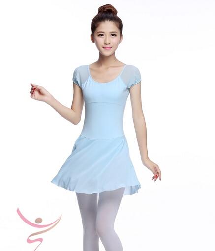 Show details for  Skyblue Short Sleeve Sexy S-XL Dancewear Ballet Dress Leotard Gymnastics Women Girl Dance Clothes Ballet Gym Suit