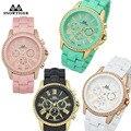 Beauty crystal bezel Geneva platinum quartz-watch dress watches for women fashion montre