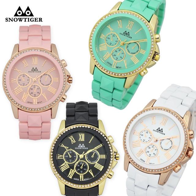f25d8606c31 Beleza moldura de cristal de platina Genebra quartzo-relógio vestido  relógios para as mulheres moda