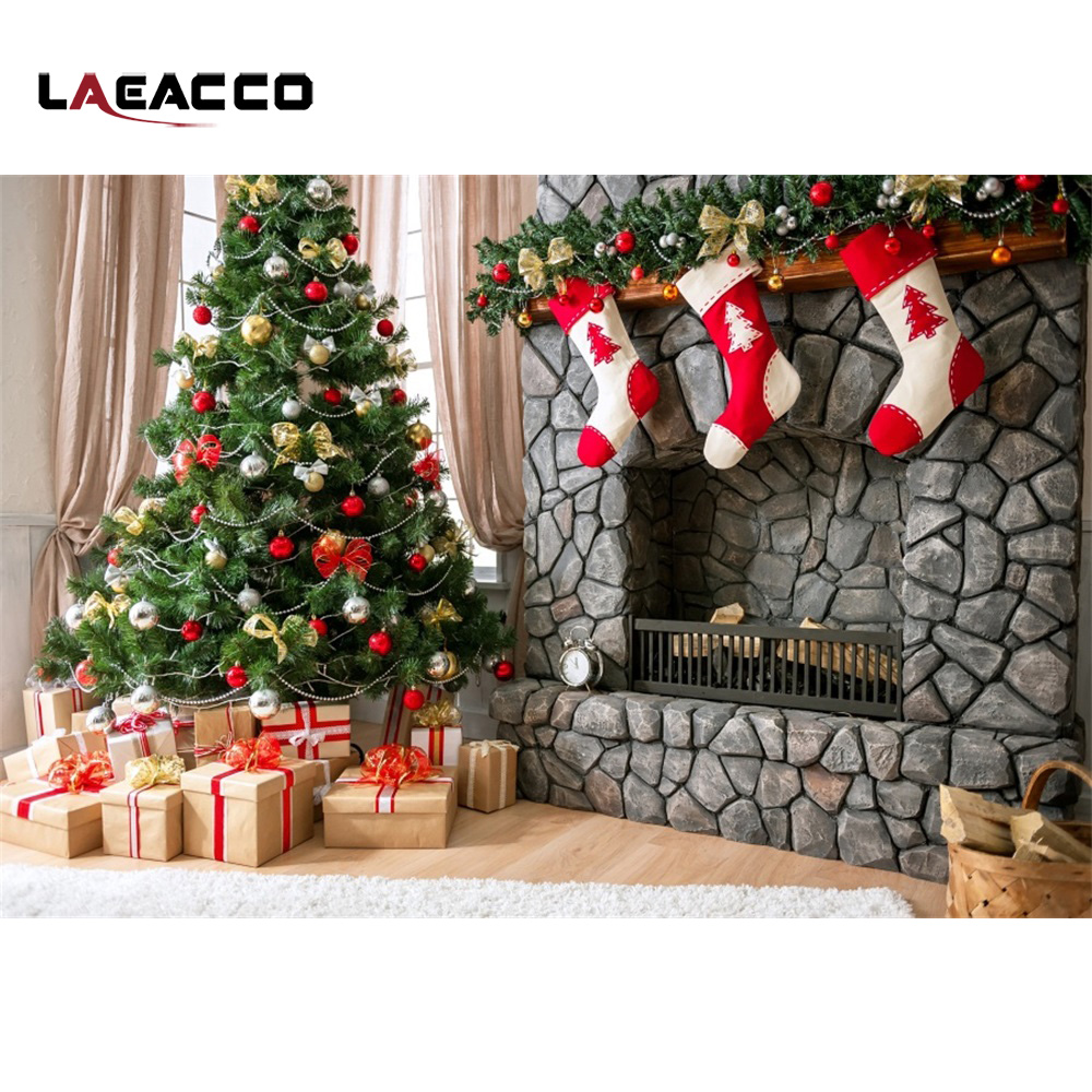 Laeacco Christmas Tree Gifts Socks Fireplace Interior Photography Backgrounds Customized Photographic Backdrops For Photo Studio polyester merry christmas room gifts photography backdrops for party photo studio portrait backgrounds props s 2626
