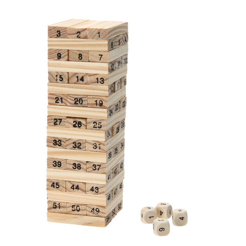 Pine Wooden Tower Wood Building Blocks Toy Domino 54pcs Stacker Extract Building Educational Game Gift 4pcs Dice elc 100 bricks toy wooden building blocks storage bag confirm to en 71 freeshipping