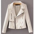 New 2017 Women's Winter Autumn New Clothing Brand Fashion Slim Pink White Long-sleeved Faux Leather Jackets Women jacket
