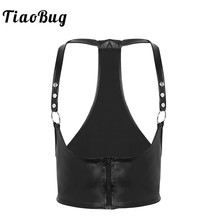 TiaoBug Men Black Faux Leather Body Chest Harness Hot Sexy Muscle Male BDSM Bondage Belt Costume with Metal Rings Punk Crop Top
