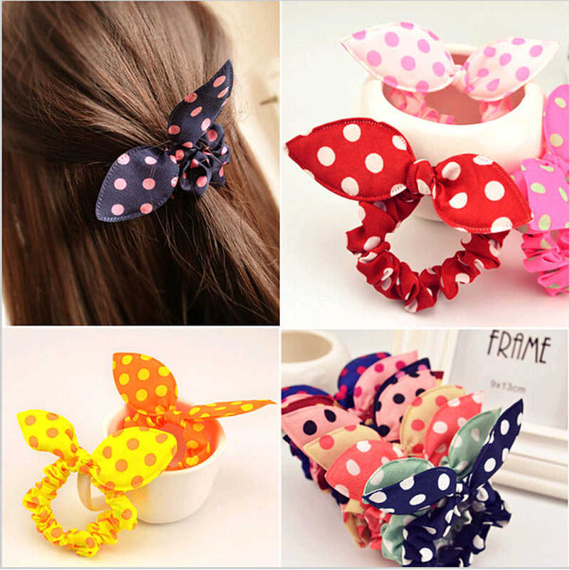 8Pcs Flower Bunny Braiding Tools Polka Dots Hair Bands Headbands Rabbit Ears Elastic Ring Hair Rope Ties Hairdessing Accessories