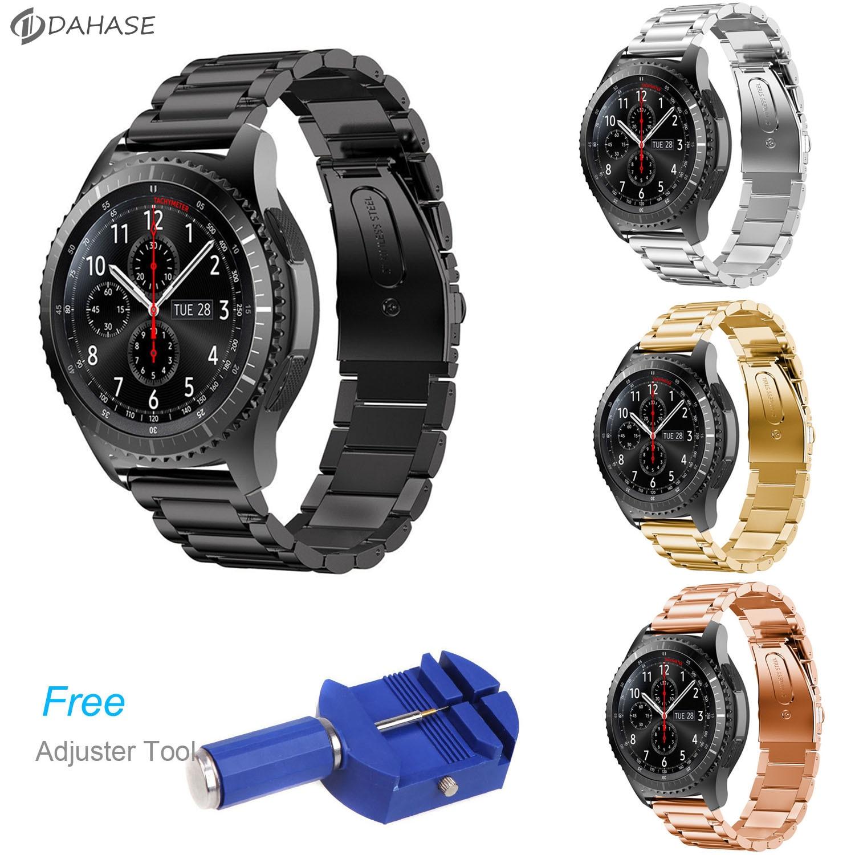 DAHASE Cinta Faixa de Relógio de Aço Inoxidável para a Engrenagem Samsung S3 Fronteira para a Engrenagem S3 Clássico Pulseira de Relógio Inteligente com Ajuste ferramenta
