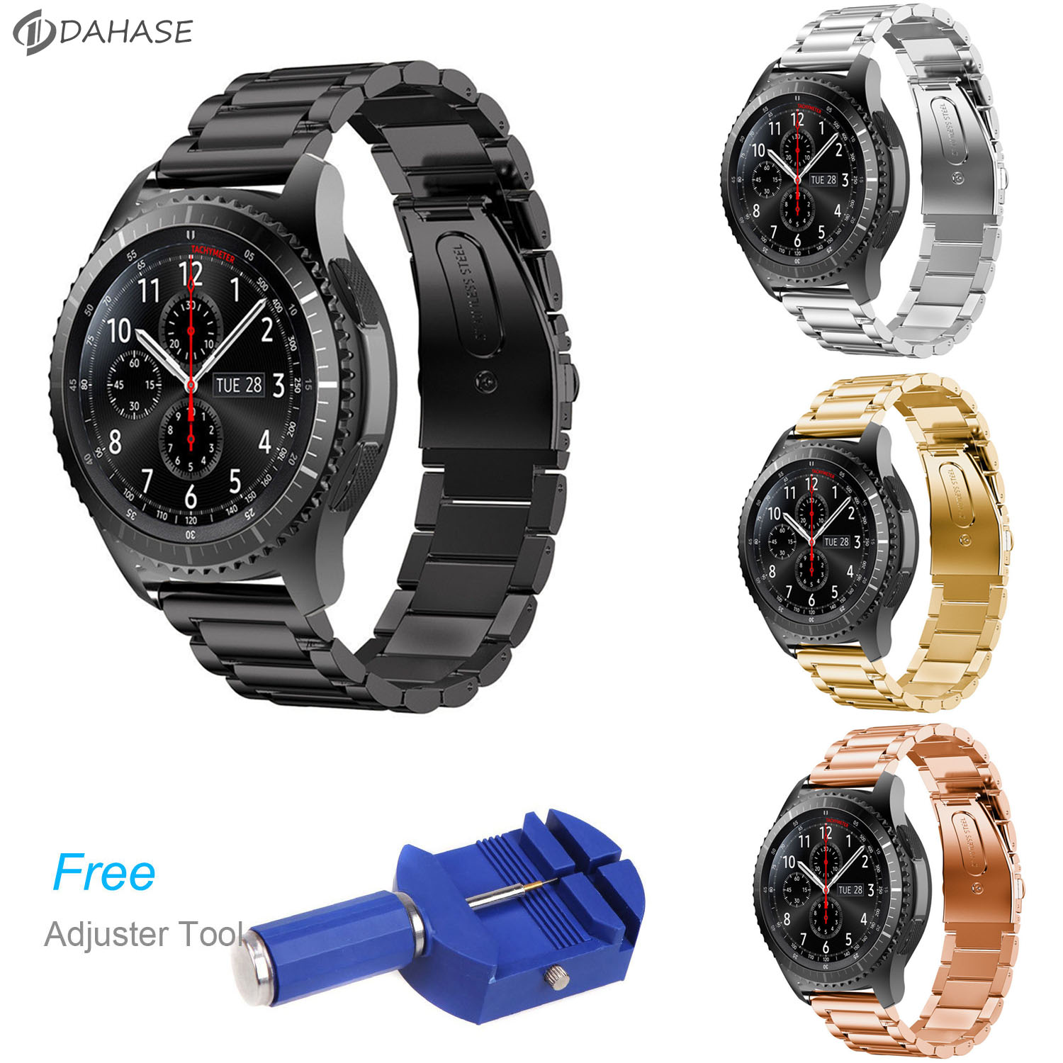 DAHASE Stainless Steel Watch Band for Samsung Gear S3 Frontier Strap for Gear S3 Classic Smart Watch Bracelet with Adjust Tool crested sport silicone strap for samsung gear s3 classic frontier replacement rubber band watch strap for samsung gear s3