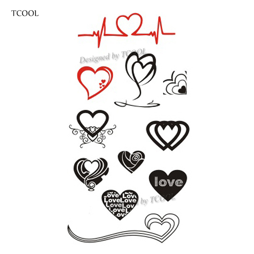 HXMAN Love Temporary Tattoos Waterproof Women Fashion Fake Body Art Arm Tattoo Sticker 10.5X6cm Kids Hand Tatoo Paper AB-019
