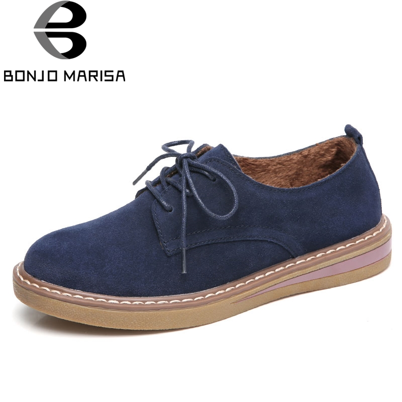 BONJOMARISA 2019 Women Sneakers Autumn Oxford Shoes   Leather     Suede   Flats Shoes Woman Lace up Boat Shoes Round toe Flats Moccasins