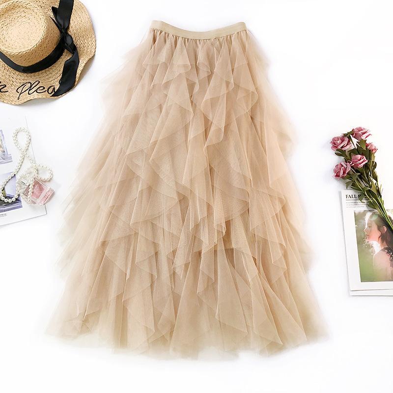 2019 Fairy Net Yarn Half-length Skirt Gentle Elegant Korean Beach Resort Fish Tail Lolita Style Ball Gown Tulle Skirt Tutu Skirt