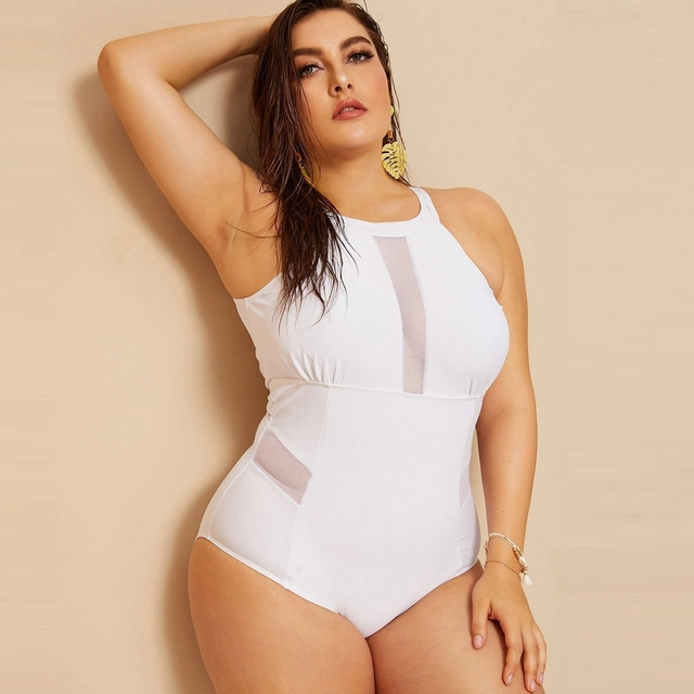 Plus size solid mesh swimsuit high neck halter swimwear women sexy monokini  patchwork swimming suit for women sexy swimsuit