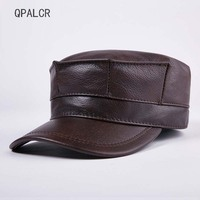 QPALCR Winter Men Baseball Cap Genuine Leather Hat For Women Caps High Quality Cowhide Octagonal Flat Hats Earmuffs Bomber Hats