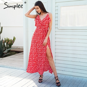 bfda3adca3ee4 Simplee V neck print bohemian beach dress Irregular ruffles summer ...
