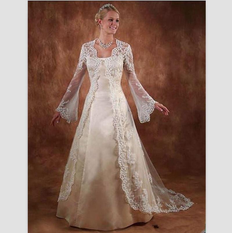 Vintage Beige Satin Wedding Dresses With Sleeves 2015
