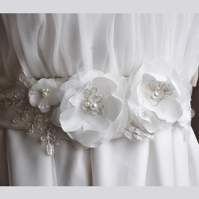 Elegant Bridal Belt for Wedding Dress White Flower Bridal Lace Belts Handmade Pearl Elegant Dress Sash wedding Belt