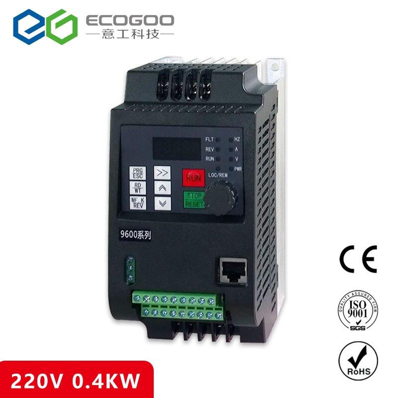 цена на VFD 0.4KW inverter 220V AC Frequency Inverter 1 phase input 3 phase 220 V output