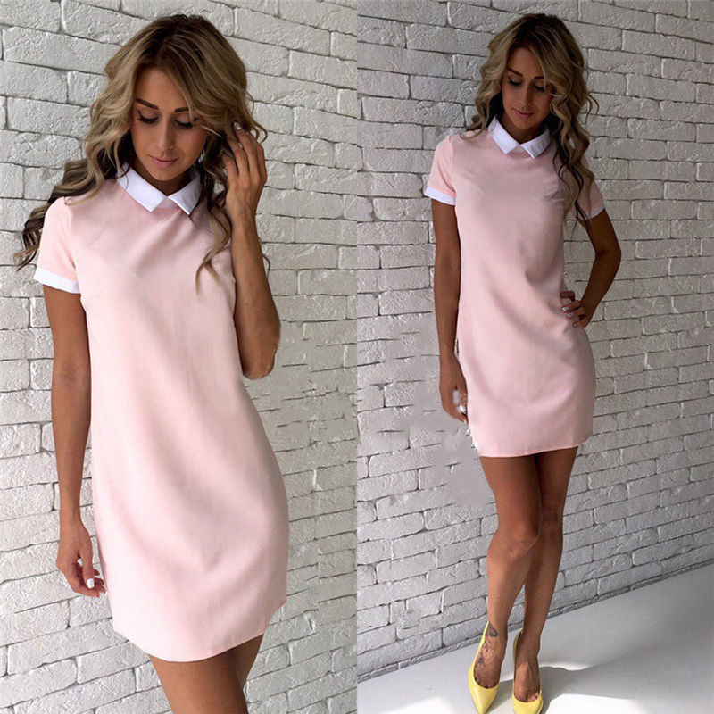 Trendy Women Short Sleeve Bodycon Pencil Dress Party Office Lady Lapel Dresses in Dresses from Women 39 s Clothing
