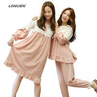 and autumn autumn summer long sleeved cotton pajamas female Korean lady sweet princess dress suit thin Home Furnishing