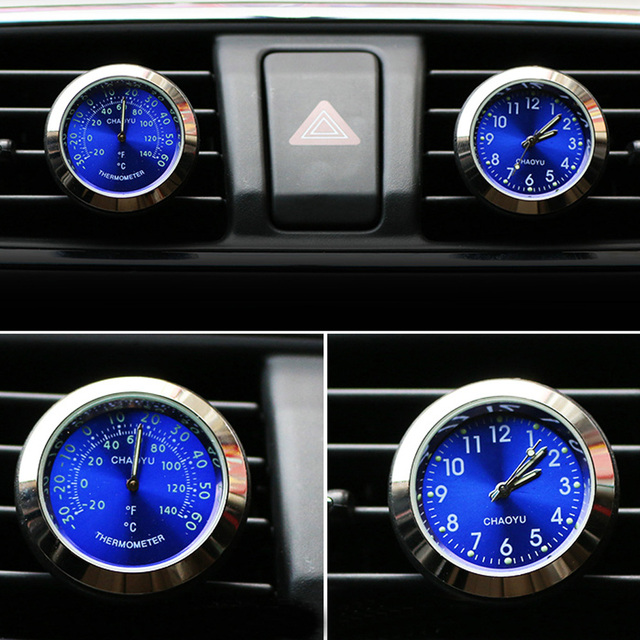 Car Thermometer Time Clock Ornaments With Luminous Auto Digital Watch A/C Air Outlet Vent Clip Air Freshener Car Accessories
