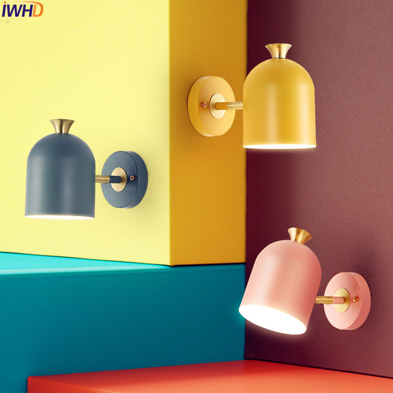 IWHD Nordic LED Wall Lamp Beside Bedroom Living Room Stair Colorful Modern Wall Light Sconces Arandela Lamparas De Pared iwhd nordic modern led wall lamp living room fabric switch led wall light stair arandela lampara pared