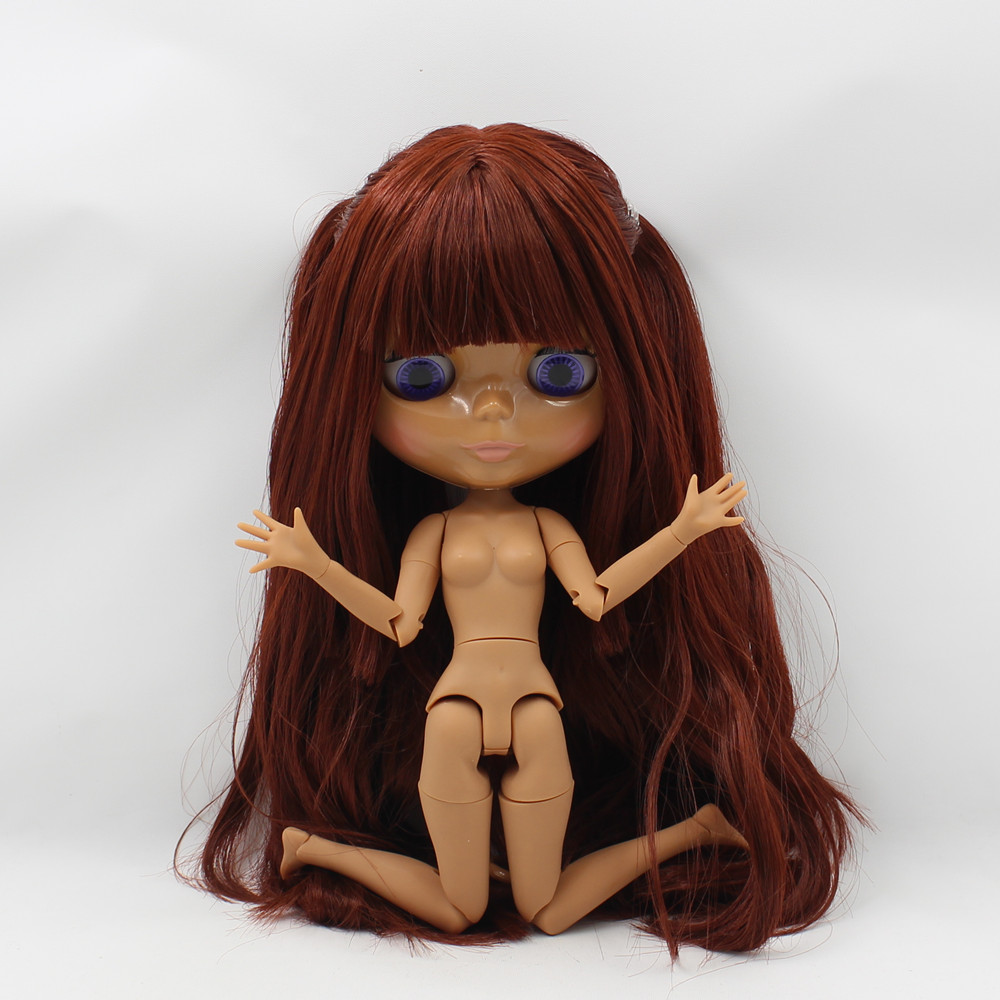 ICY Nude Blyth  doll  No.300BL0362 Red Brown hair with bangs JOINT body Chocolate skin 1/6 BJD-in Dolls from Toys & Hobbies    3